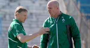 Joe Schmidt with Paul O'Connell in 2014. The coach and captain dynamic between the two proved the catalyst for Ireland winning two Six Nations. Photograph: Dan Sheridan/INPHO
