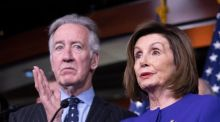 Speaker of the house Nancy Pelosi and  chairman of the house ways and means committee Richard Neal  during a news conference on USMCA in Washington. Photograph: Michael Reynolds/EPA