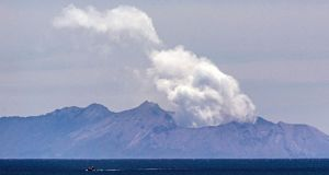 Steam rises from the White Island volcano following the December 9th volcanic eruption, in Whakatane on December 11th. Photograph: Marty Melville/AFP