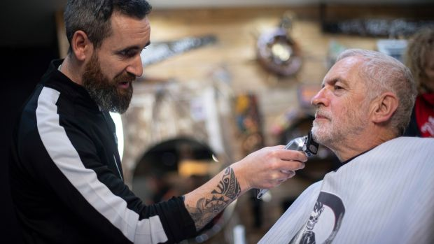 Labour Party leader Jeremy Corbyn in Big Mel's Barbershop, Carmarthen, Wales, having his beard trimmed this week. Photograph: Victoria Jones/PA Wire