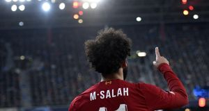 Liverpool's  Mohamed Salah during his team's 2-0 win in Salzburg. Photograph: EPA
