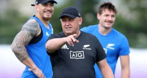 The new head coach of the All Blacks, Ian Foster, during a New Zealand training session in Japan. Photograph: Hannah Peters/Getty Images