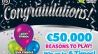 In one of the Congratulations games, on sale until July this year, four top jackpot prizes of €50,000 should have been winnable, but only two were created. Photograph: National Lottery