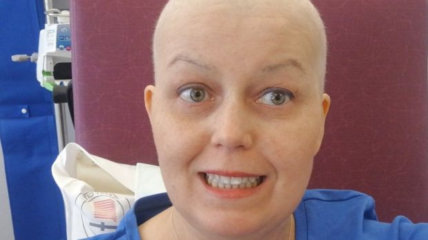 Photographs of Maresa Fagan at her first and last chemotherapy session.