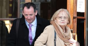 Ethel Watkins, grandmother of Ella Watkins of Esker Glebe, Lucan, Co Dublin pictured leaving court with solicitor, Fintan Lawlor after the case   was settled. Photograph: Collins Courts
