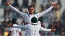16-year-old Shaheen Shah took two wickets as Test match cricket returned to Pakistan. Photograph: Aamir Qureshi/Getty/AFP