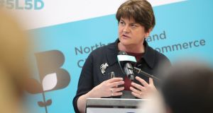 DUP leader Arlene Foster. Photograph: Northern Ireland Chamber of Commerce and Industry/PA Wire