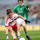 Derry's Cáit Glass and Eimear Smyth of Fermanagh in the TG4 Ladies Junior All-Ireland Football Championship final at  Croke Park, Dublin in September 2017.  Photograph: Ryan Byrne/Inpho