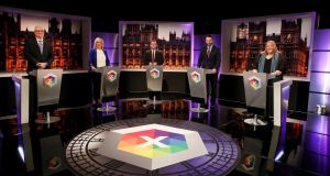 Northern Ireland party leaders and representatives took part in a BBC televised debate on Tuesday evening ahead of Thursday's Westminster election. Photograph: presseye/PA Wire
