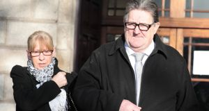 Esther and Joseph Carragher  at the Four Courts for a High Court action in relation to the repossession of a property at Doolargy Avenue, Muirheavnamor, Dundalk, Co Louth. Photograph: Collins Courts