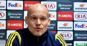 Arsenal's interim head coach Freddie Ljungberg on the eve of their  Europa League match against  Standard Liège. Photograph: Johan Eyckens/Belga/AFP via Getty Images