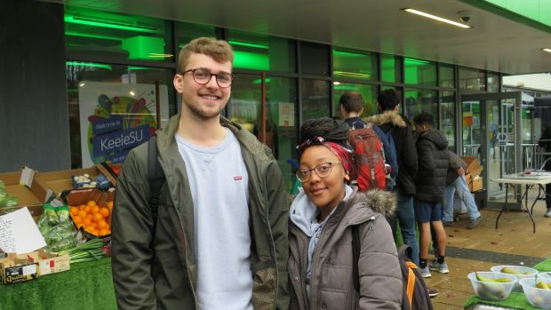 Students Connor Ogdon and Lisa Mahachi plan to vote Labour. Photograph: Jennifer O'Connell