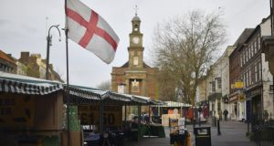 A St George's Cross flag flies on a market stall in Newcastle-under-Lyme, a Labour seat for nearly 100 years. Photograph: Anthony Devlin/Bloomberg