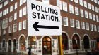 A polling station sign in London as Britons go to the polls on December 12th in a general election. Photograph: Neil Hall/EPA.