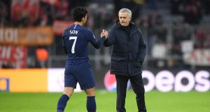 Jose Mourino with Son Heung-Min following Tottenham's defeat to Bayern Munich. Photograph: Michael Regan/Getty