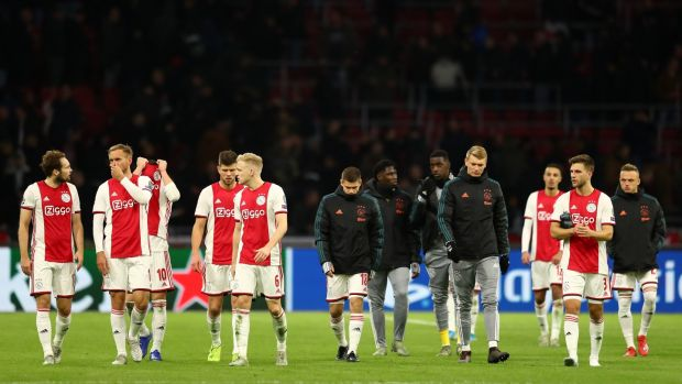 Ajax were knocked out in the group stages after their defeat to Valencia in Amsterdam. Photograph: Dean Mouhtaropoulos/Getty