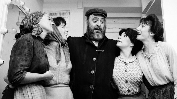 Zero Mostel and costars backstage on the Broadway opening night of Fiddler on the Roof in 1964