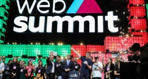Paddy Cosgrave, chief executive and co-founder of Web Summit (centre right) at the official opening ceremony of the 2019 Web Summit in Lisbon. Photograph: EPA/MIguel A Lopes
