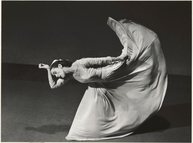 Barbara Morgan's study of Martha Graham from her Dancers series; 1940. Gelatin silver print. Bank of America Collection