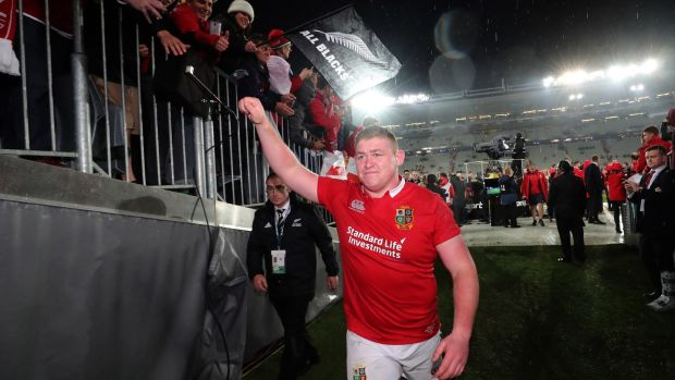 Rugby Tadhg Furlong after the Lions' second Test win in Auckland in 2017. Photograph: Billy Stickland/Inpho