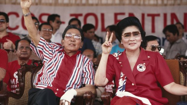 Imelda Marcos with her husband Ferdinand on the presidential campaign trail in 1986, shortly before the People Power Revolution forced the family into exile. Photograph: Andy Hernandez/Getty Images