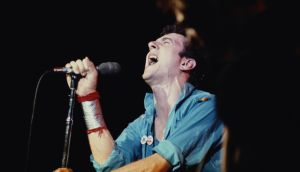 Clash singer Joe Strummer performing in New Ypork in September 1979. Photograph:  Michael Putland/Getty Images