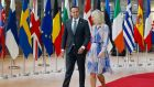 Taoiseach Leo Varadkar and Minister of State for Europe Helen McEntee  arriving at the European Council summit in Brussels on Thursday. Photograph: Julien Warnand/EPA.