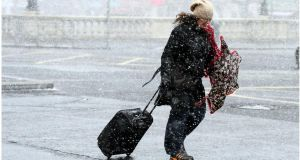 File image of sleet in   Dublin city centre. File photograph: Bryan O'Brien/The Irish Times