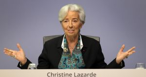 Christine Lagarde, president of the European Central Bank, faced the press for the first time in her new role. Photograph: Daniel Roland/AFP