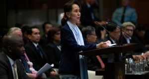 Myanmar's leader Aung San Suu Kyi addresses judges of the International Court of Justice at The Hague, Netherlands on Wednesday. Photograph: Peter Dejong/AP Photo