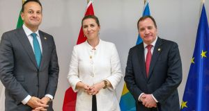 Taoiseach Leo Varadkar, Danish prime minister Mette Frederiksen and  Swedish prime minister Stefan Löfven. The three countries have announced they will be working much more closely in the future on climate change