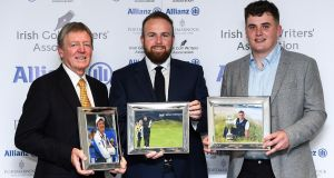 Shane Lowry with the Professional Player of the Year award for 2019 award, with Des Smyth with the award for Distinguished Services to Golf, and James Sugrue with the Men's Amateur of the Year Award. Photograph: Matt Browne/Sportsfile