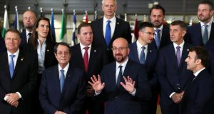 European Council president Charles Michel gestures at the European Union leaders summit in Brussels: France is calling for nuclear power to be key. Photograph: Yves Herman