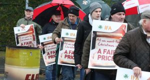 The IFA blockaded the Musgrave SuperValu Centra distribution centre in Kilcock Co Kildare earlier this week as part of the ongoing  campaign for an increase in beef prices. Photograph: Finbarr O'Rourke