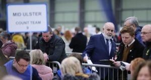 Sinn Féin's Francie Molloy during the count at Meadowbank Sports Arena last night. Photograph: Niall Carson/PA Wire