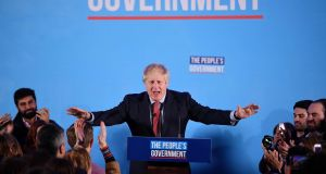 British prime minister Boris Johnson speaks after his Conservative Party delivered a 'political earthquake' in securing a sweeping general election win. Photograph: DANIEL LEAL-OLIVAS/AFP via Getty Images