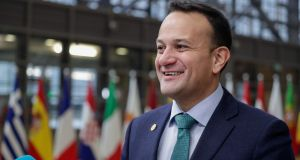 Taoiseach Leo Varadkar arrives for the second day of the European Council summit in Brussels. Photograph: Stephanie LeCocq/EPA
