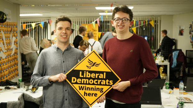 Liberal Democrat supporters Conor Mohan and Mark O'Brien O'Reilly, both from Ireland. Mohan said the election result showed that Labour leader Jeremy Corbyn 'really does not resonate with the working class'. Photograph: Enda O'Dowd