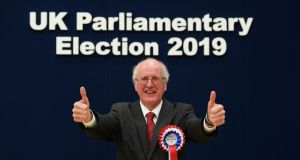 Jim Shannon of the DUP celebrates topping the Strangford poll. Photograph: Michael Cooper/PA Wire