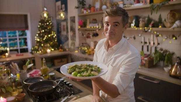 Donal Skehan and his sesame sprouts in Donal's Superfood in Minutes Christmas Special