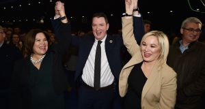 Sinn Féin's John Finucane celebrates victory in North Belfast. The DUP are under pressure because of a pro-Remain vote, rather than a rise in support for a united Ireland. Photograph: Charles McQuillan/Getty
