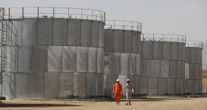 Storage tanks at Tullow Oil's Ngamia 8 drilling site in Lokichar, Kenya. File photograph: Baz Ratner/Reuters