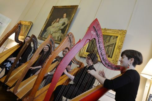 Siofra Ni Dhubhghaill, Rachel Duffy, Luke Webb, Fiona Gryson and Meabh McKenna, members of the TU Dublin Harp Ensemble performing at the Celebration of Irish Harping's Inscription on the Unesco Representative List of Intangible Cultural Heritage of Humanity at the National Gallery. Photograph: Alan Betson/The Irish Times