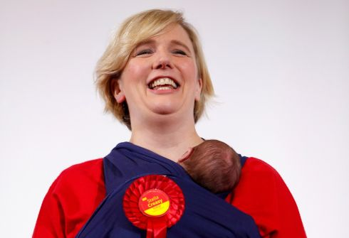 Labour candidate for Walthamstow Stella Creasy carries her baby daughter after winning in Britain's general election in Waltham Forest Town Hall, Walthamstow, Britain. Photograph: John Sibley/Reuters