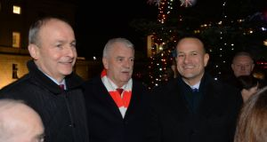 Micheál Martin, Finian McGrath and Taoiseach Leo Varadkar, who is  likely to decide over Christmas whether to call an election earlier than his initially planned date of May 2020.  Photograph: Alan Betson / The Irish Times