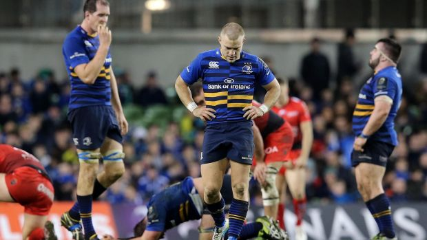 Leinster players Devin Toner and Ian Madigan show their dejection following the home defeat to Toulon in December, 2015. Photograph: Ryan Byrne/Inpho