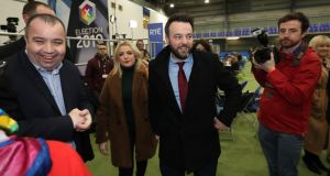 SDLP leader Colum Eastwood and his wife Rachel arrive at Meadowbank Sports Arena in Magherafelt in Londonderry as counting begins. Photograph:  Niall Carson/PA Wire