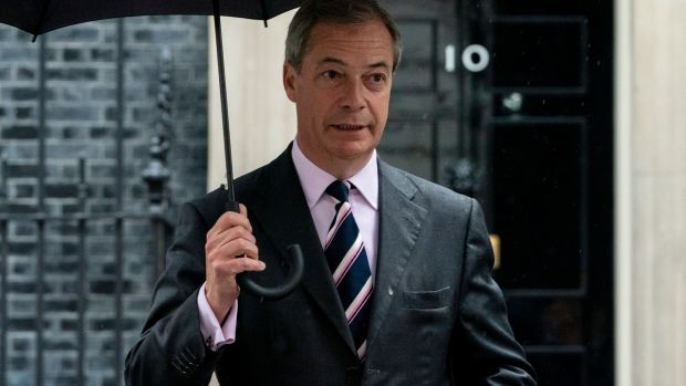 Brexit Party leader Nigel Farage: announced he would not stand candidates in Tory seats. Photograph: Will Oliver/EPA