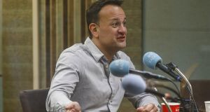 Taoiseach Leo Varadkar pictured on the RTÉ Radio 1's Marian Finucane Show with Brendan O'Connor. Photograph: Andres Poveda/RTÉ
