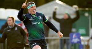 Connacht's Robin Copeland celebrates after scoring the winning try. Photograph: James Crombie/Inpho